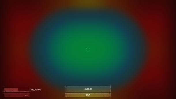 Рис. C2: Приблизительный вид областей на экране, требующих разных значений амплитуды для смещения локуса внимания. Синяя и зелёная области активно сканируются игроком во время геймплея; изменения в красной области будут не столь заметны.