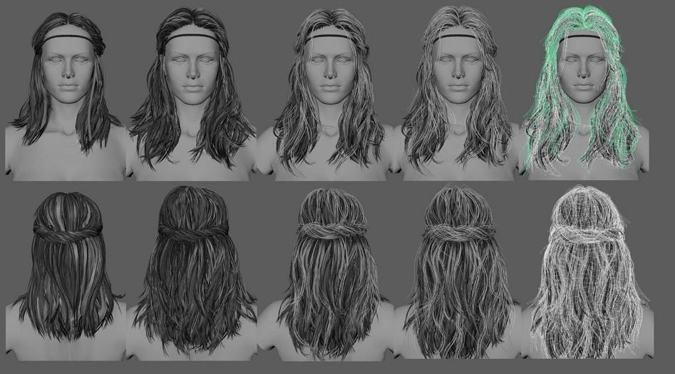 Создание волос для персонажа видеоигры